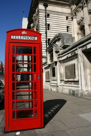 Typical London phone booth - symbol of Great Britain. photo