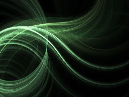 fractal: Abstract fractal background. Computer generated graphics. Green light wave.