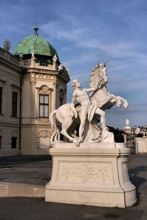 Statue of man with a horse next to Belvedere Castle in Vienna, Austria Stock Photo - 3160693