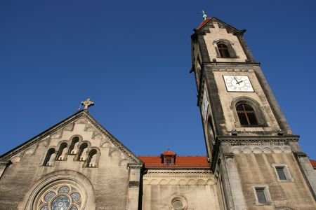 gory: Chiesa Evangelica sulla piazza del mercato di Tarnowskie Gory regione in Alta Slesia (Polonia)