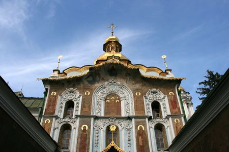 Kiev Pechersk Lavra - famous monastery inscribed on UNESCO world heritage list. Ukrainian landmark. The Gate Church of the Trinity. photo