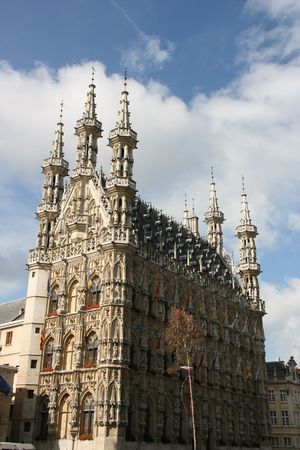 Famous Leuven Town Hall, landmark of Flemish Brabant region in Belgium. Architecture in Brabantine Late Gothic style. Build in 1448-1469 on Grote Markt (Main Square). Stock Photo - 3532291