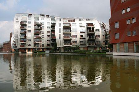 den: Unique modern residential architecture in s-Hertogenbosch (Den Bosch), city in Holland. Stock Photo