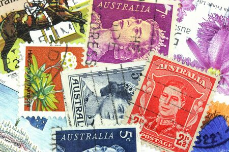 collectible: Collectible stamps from Australia. Colorful background texture.
