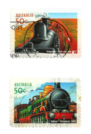 collectible: Collectible stamps from Australia. Set with trains and railway.