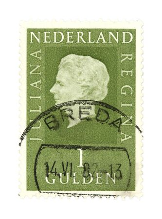 collectible: Collectible stamp from Netherlands. One with Queen Juliana stamped in Breda.