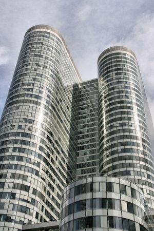 highriser: Unique skyscraper in famous financial and business district of Paris - La Defense.