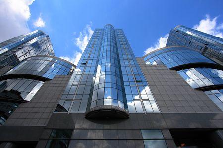 Modern architecture of European Parliament building in Brussels, Belgium