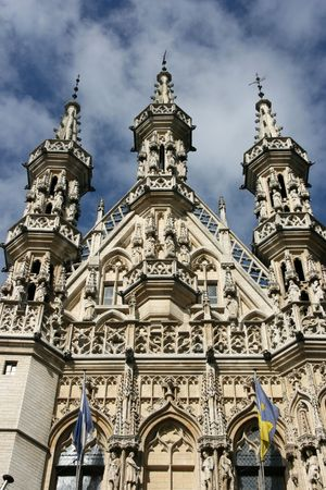 Famous Leuven Town Hall, landmark of Flemish Brabant region in Belgium. Architecture in Brabantine Late Gothic style. Build in 1448-1469 on Grote Markt (Main Square). Stock Photo - 3629433