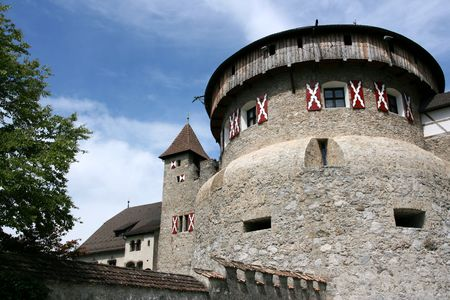 liechtenstein: Old medieval castle in Vaduz, Liechtenstein. Vintage landmark.