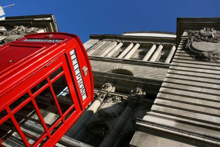 Typical London phone booth in abstract view - symbol of Great Britain. Stock Photo - 3638482