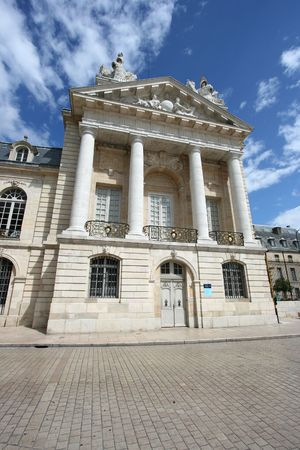 palais: Liberation Square and the Palace of Dukes of Burgundy (Palais des ducs de Bourgogne) in Dijon, France. Photo taken with extremely wide angle camera - abstract angle.