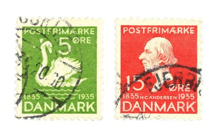 collectible: Collectible stamps from Denmark. Set comemmorating Hans Christian Andersen. Stock Photo