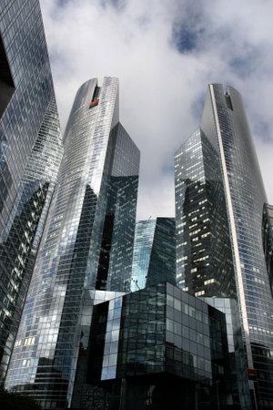 highriser: Skyscraper in famous financial and business district of Paris - La Defense.