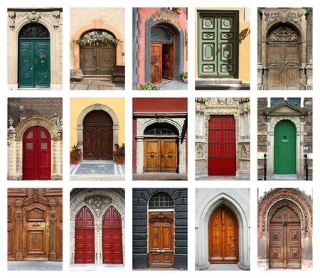 salir puerta: Colorida composici�n de la puerta - arquitectura collage. Las puertas de Rep�blica Checa, Francia, Suiza, Alemania y Pa�ses Bajos. Foto de archivo