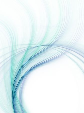 line design: Abstract fractal background. Computer generated graphics. Blue and green waves. Stock Photo