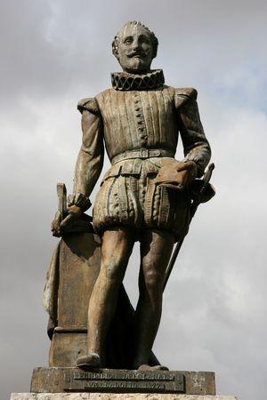 novelist: Miguel de Cervantes - famous Spanish novelist, poet and playwright. Statue in Valladolid, Spain.