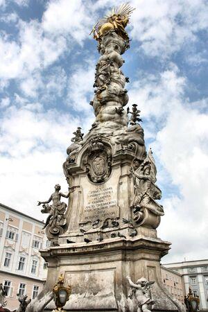 Famous landmark of Linz - Baroque Trinity Column (or Plague Column) in the middle of Hauptplatz (Main Square) Stock Photo - 3746764