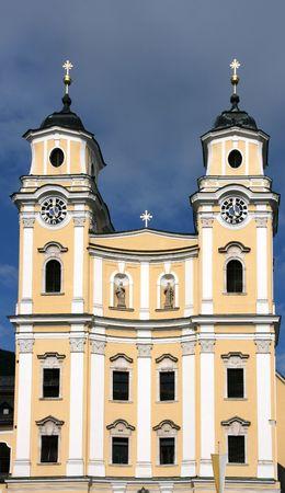 Beautiful baroque church in Mondsee, Vocklabrueck district, Austria Stock Photo - 3746763