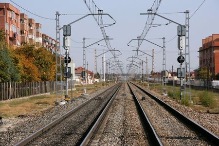 vanishing: Endless railroad tracks in Valladolid, Spain. Vanishing point phenomenon.