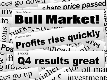 share market: Good investor news. Bull market. Financial newspaper cuttings. Incomplete words. Vector illustration. Illustration