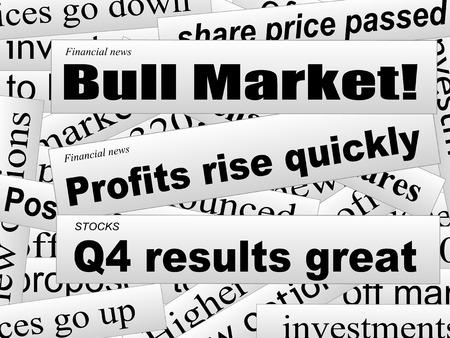 Gute Investor News. Bull. Markt. Finanzielle Zeitungsausschnitte. Unvollständige Wörter. Vector illustration.