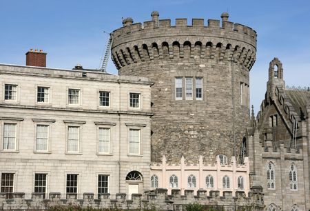 crenellated: Dublin castle wall - old landmark in Irish capital city