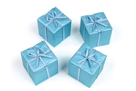 Blue Christmas decoration. Seasonal concept. Set of wrapped gifts. Stock Photo - 3804564