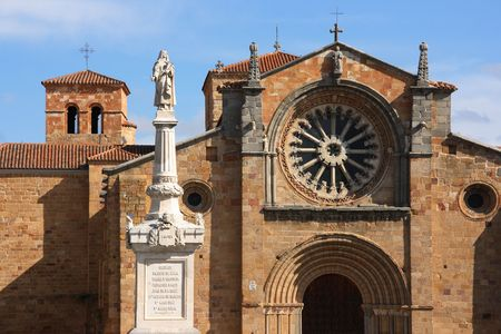 peters: Monument of Saint Teresa of Jesus in front of Saint Peters Church in Avila, Spain Stock Photo