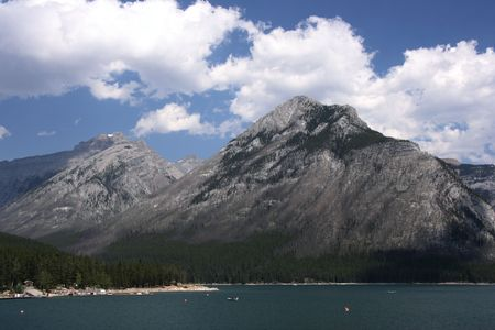 banff national park: Banff National Park - Lake Minnewanka and Rocky Mountains. Stock Photo
