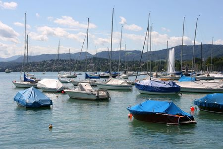Zurich Lake marina - sailboats and motorboats. Swiss resort. photo