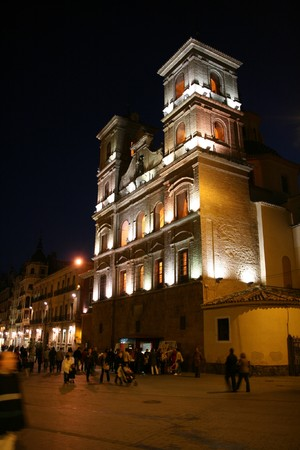 santo domingo: Murcia - Santo Domingo (Saint Dominic) church in the night