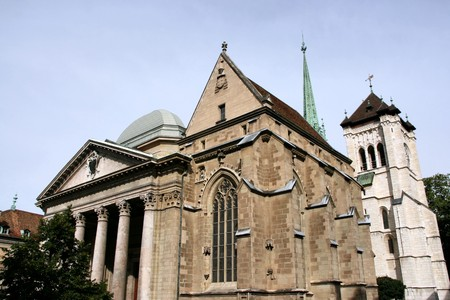 Saint Pierre Cathedral in Geneva, Switzerland. Swiss reformed church.