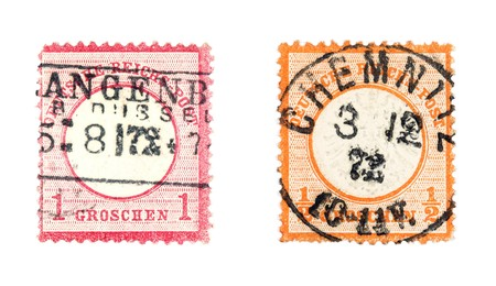 reich: Very old, valuable collectible stamps from Germany (Deutsche Reich). Cancelled in Chemnitz.