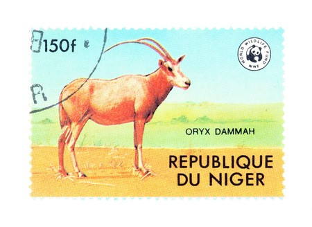 collectible: Collectible stamp from Niger. Stamp with Scimitar-horned Oryx antelope (Oryx dammah). Stock Photo