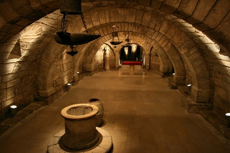 crypt: Interior of Palencia cathedral crypt in Spain. Medieval church. Editorial