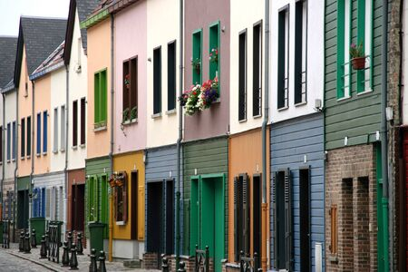 Beautiful colorful row of houses in Amiens, Picardie, France Stock Photo