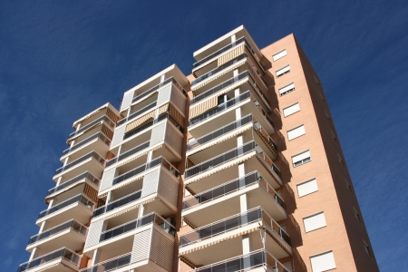 appartment: Tall apartment building in Benidorm, Spain. Residential architecture.