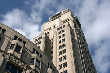 artdeco: Boerentoren in Antwerp, Belgium. Art-deco building that was the first skyscraper in Europe. Stock Photo