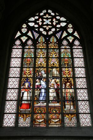 Saint Michel and Gudula Cathedral in Brussels. Beautiful stained glass art. Stock Photo - 4013940