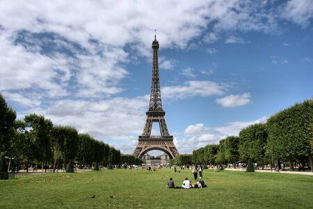 'tour eiffel': Eiffel Tower and Champ de Mars in Paris, France. Famous landmark.