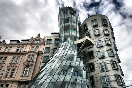 Famous landmark of Prague - Dancing House. HDR photo.