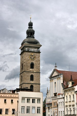 ceske: Famous Black Tower of Ceske Budejovice town in Czech Republic