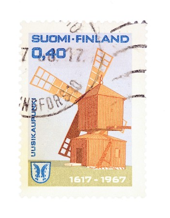 collectible: Collectible old stamp from Finland. Stamp with Uusikaupunki windmill.