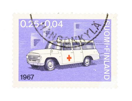 collectible: Collectible old stamp from Finland. Stamp with vintage ambulance car.