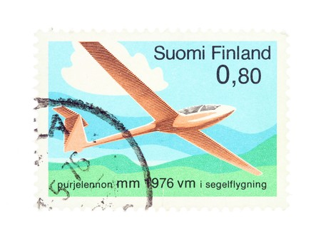 collectible: Collectible old stamp from Finland. Stamp with soaring championships.