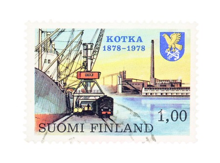 collectible: Collectible old stamp from Finland. Stamp with Kotka industrial harbor. Stock Photo