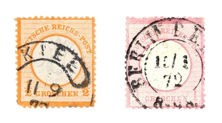 Very old, valuable collectible stamps from Germany (Deutsche Reich). Cancelled in Kiel and Berlin. photo