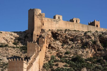 fortified: Alcazaba - fortified Moorish castle on a hill in Almeria, Andalusia, Spain.