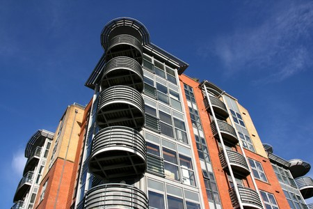 block of flats: Modern architecture in Bristol, South West England. Apartment building.